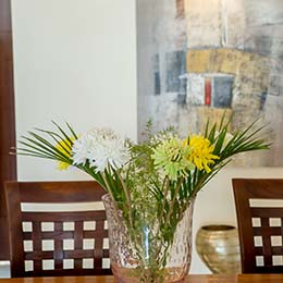 Crystal Vase: Expensive crystal vase with fresh flowers at Concord Casablanca Serviced Apartment